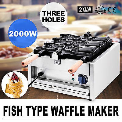 Commercial Nonstick Electric 3pcs Fish Waffle Taiyaki Maker Baker Iron