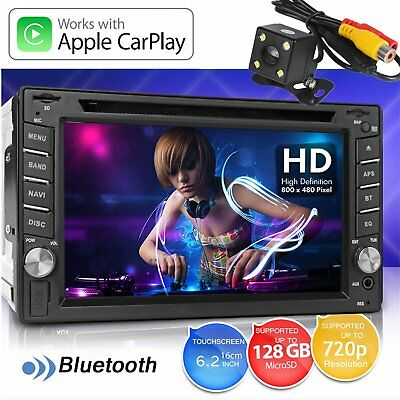 "6.2"" 2Din Car Stereo Radio Play TouchScreen Bluetooth CD DVD FM Player for Apple"