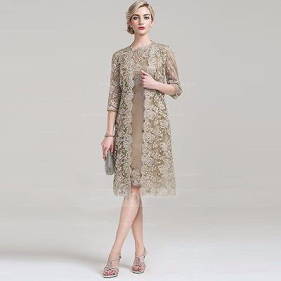 Custom Mother Of The Bride Outfits With Lace Jacket Wedding evening Formal Dress
