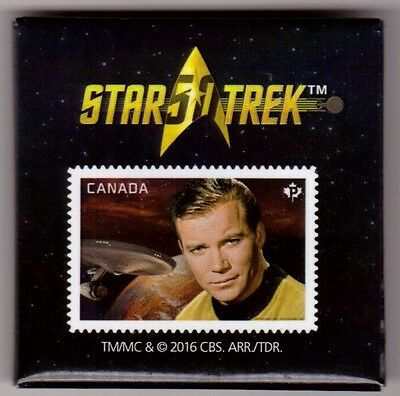 STAR TREK Captain Kirk William Shatner 50th Promo Promotional Pin Pinback Stamp
