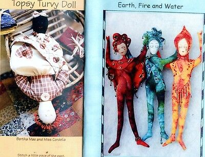 4 Cloth Doll Sewing Patterns, Earth Fire Water Raggy May Sambo Topsy Turvy Doll