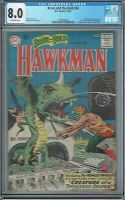 Cgc 8.0 Brave And The Bold #34 1St Hawkman & Hawkgirl Silver Age Appearance 1961