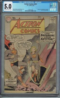 Cgc 5.0 Action #252 1St Appearance Supergirl 1959 Superman Meets Metallo