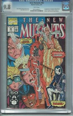 Cgc 9.8 New Mutants #98 White Pages 1St Appearance Deadpool Slight Case Crack