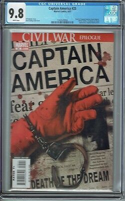 Cgc 9.8 Captain America #25 White Pages 1St Print Death Of Captain America