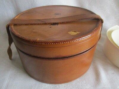 Antique Monogrammed HRH English Leather Men's Collar Box with 2 Collars 14 x 15