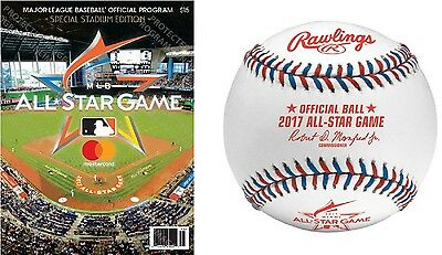 2017 Mlb All Star Game Program & Rawlings Asg Baseball Set Of Two Official Game