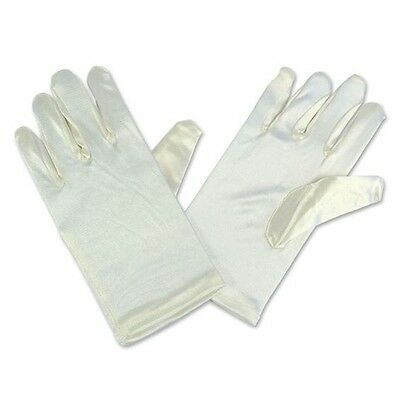 Child's Ivory Satin Stretch Short Gloves Bridesmaid Dance Stage Gloves