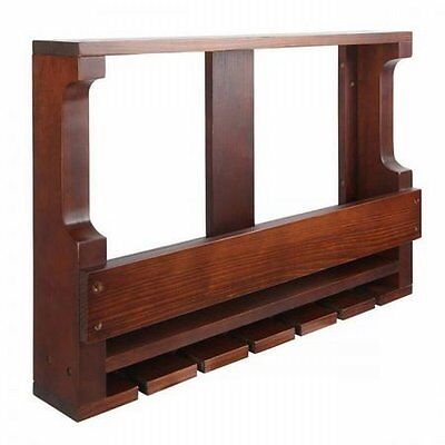 NEW Wall Mounted Wooden Holder Storage Display 7 Wine Bottle & Glass Rack Brown
