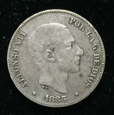 1885 Alfonso 50 centavos Spain-Philippines Silver Coin - lot 3
