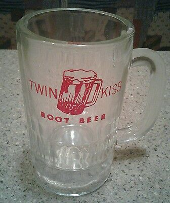 Vintage 1965 Twin Kiss Root Beer Heavy Glass Mug Orginal 1960s