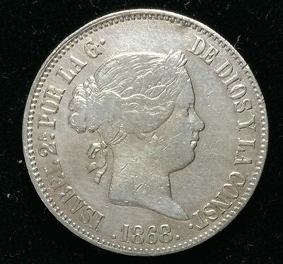 1868 Isabel 2A 50 centavos Spain-Philippines Silver Coin  - lot 13