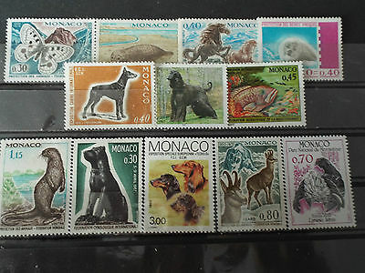 Lot 12 timbres neuf MONACO : Animaux