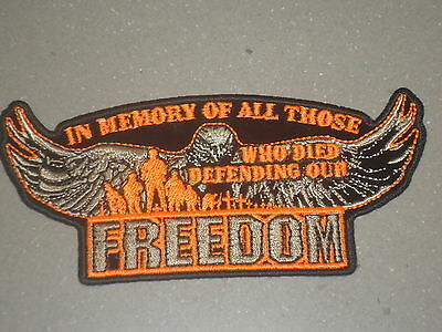Freedom Memory Of Anzac Embroidered Iron On Vest Patch Harley Davidson Suzuki