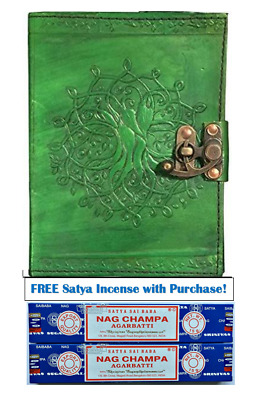 """Green Tree of Life Journal ~Book of Shadows~ 5"""" x 7"""" Leather"""