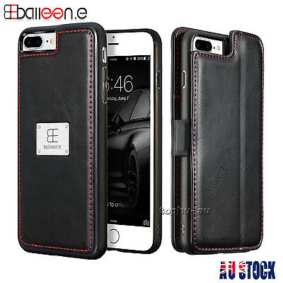 For iPhone 6S 7 Plus Luxury Wallet Case Flip PU Leather Removable Magnetic Cover