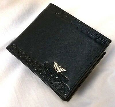 Armani Mens Black Bifold Leather Wallet New With Gift Box