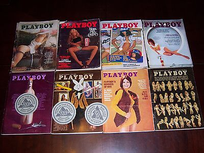 Playboy Magazine Lot of 8 Vintage 1970's All With Centerfolds