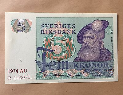 Sweden 5 Kronor 1977-1981  Pick # 51 Unc  Banknote Paper Money