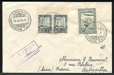 1934 First Flight cover TATOI AIRPORT postmark Athens- Salonica Greece to France