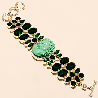 """Curved Face Turquoise With Diopside .925 Silver Bracelet 7-8"""""""