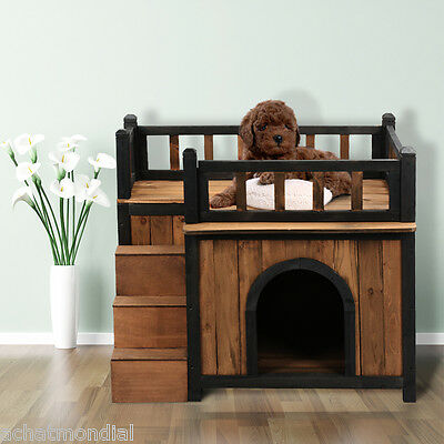 Pet House Rustic Solid Wooden Kennel Dog Puppy Cat Shelter Cabin Rooftop Balcony