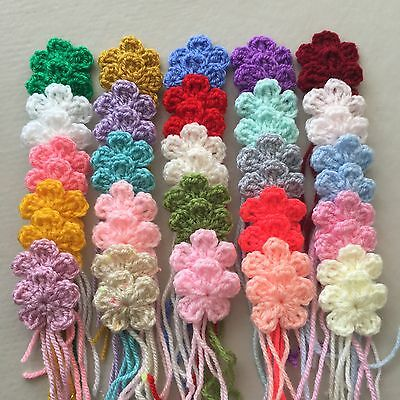50 New Handmade Flowers Crochet In Multicoloured Size 3 Cm