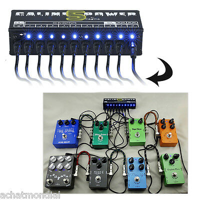 10Output Caline CP-05 Power Supply Station LED For 9/12/18V Guitar Effect Pedals