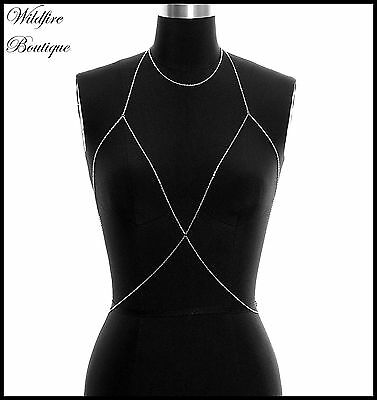 Fine Chain Festival Bikini Body Chain Body Harness Choker Necklace Cross Over