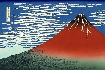 Fuji Mountains in Clear Weather Repro Japanese Woodblock Art Print By Hokusai