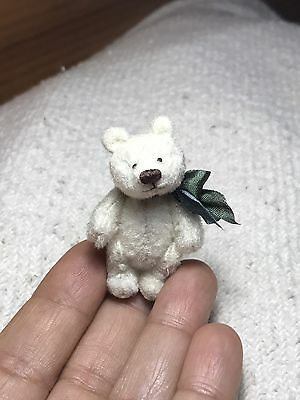 1-3/4 in. Miniature Hand Sewn WHITE Teddy Bear by Artist Lori Wright