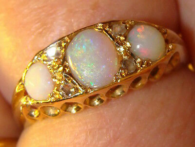 Antique (1912) 18ct Gold Opal & Diamond Ring Size O Boxed