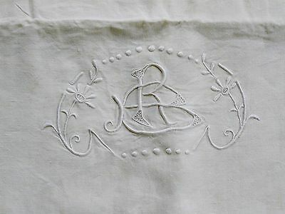 Vintage French Linen Metis Sheet - Embroidered Monogram Rb