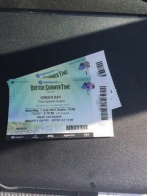 Green day Hyde Park 2x Adult Priority Tickets