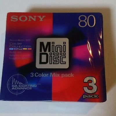 New Sony MD80 Blank Mini Disc 80 Minutes Recordable color mix 3pack