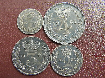 1881 Queen Victoria SILVER MAUNDY COIN SET - Penny Twopence Threepence Fourpence