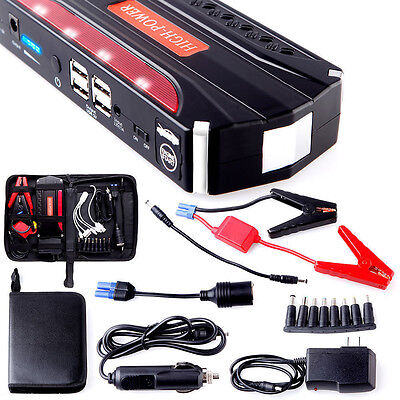 68800mAh 4USB Multi-Function Car Jump Starter Power Bank Rechargable Battery
