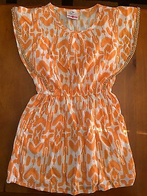Girls' Dress INDIGOKIDS SIZE 4-5 Orange/white Sleeveless - New!