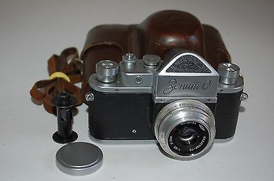 Zenit-C Soviet SLR With Industar-50 Lens & Leather Case. 1957. No.57187242.