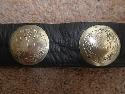 vintage leather belt with silver colour discs