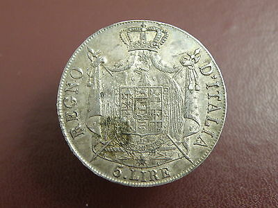 ITALY KINGDOM OF NAPOLEON - 1809 FIVE LIRE SILVER COIN - Good Grade