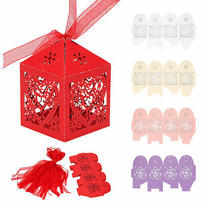 Favor 25PCS Love Heart Laser Cut Candy Gift Boxes With Ribbon Wedding Party