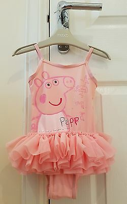 Peppa Pig Print Swimsuit Swimming Costume With Tutu Skirt NEXT Age 18-24 Months
