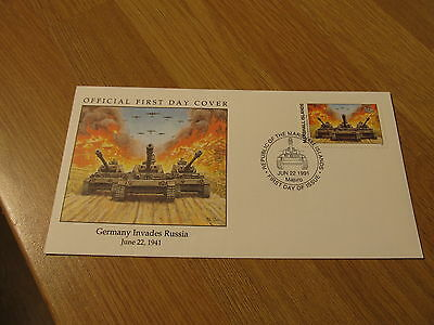 UNADDRESSED Marshall Islands 1991 WWII Germany Tanks Invades Russia FDC