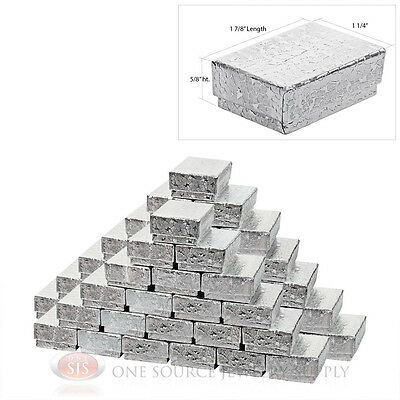 """50 Silver Foil Cotton Filled Gift Boxes 1 7/8"""" x 1 1/4"""" Charm Ring Jewelry Box"""