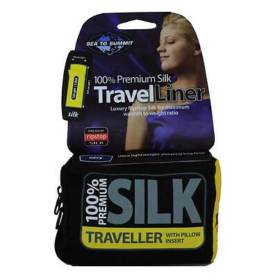 Sea to Summit Silk Comfort Stretch Traveller Liner with Pillow Slip Navy