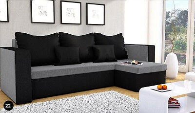 New MOJITO Corner Sofa Bed Best Quality Free Delivery GREY AND BLACK Fabric
