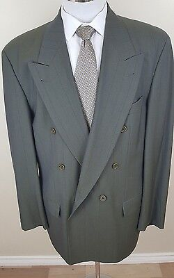 HUGO BOSS Double Breasted Al Capone Size 36L Grey Striped 2 Piece Wool Mens Suit