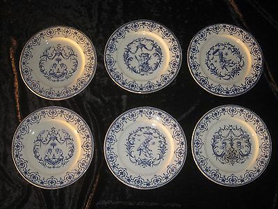 Rare Et Sublime Serie De 6 Assiettes  Bordeaux Vieillard Decor Moustiers