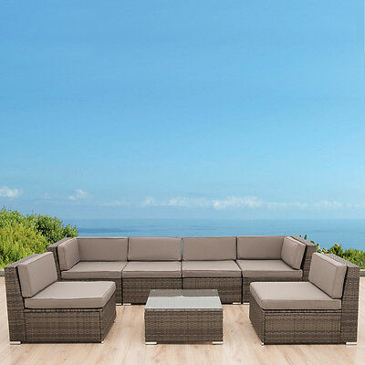7PCS Patio Sofa Set Aluminum Rattan Wicker Outdoor Sectional Cushioned Furniture